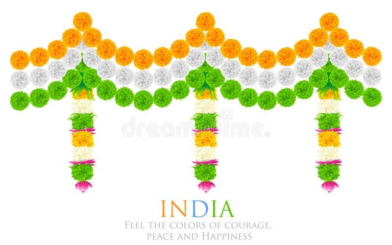 Decoração Tricolor da flor da Índia ilustração do vetor