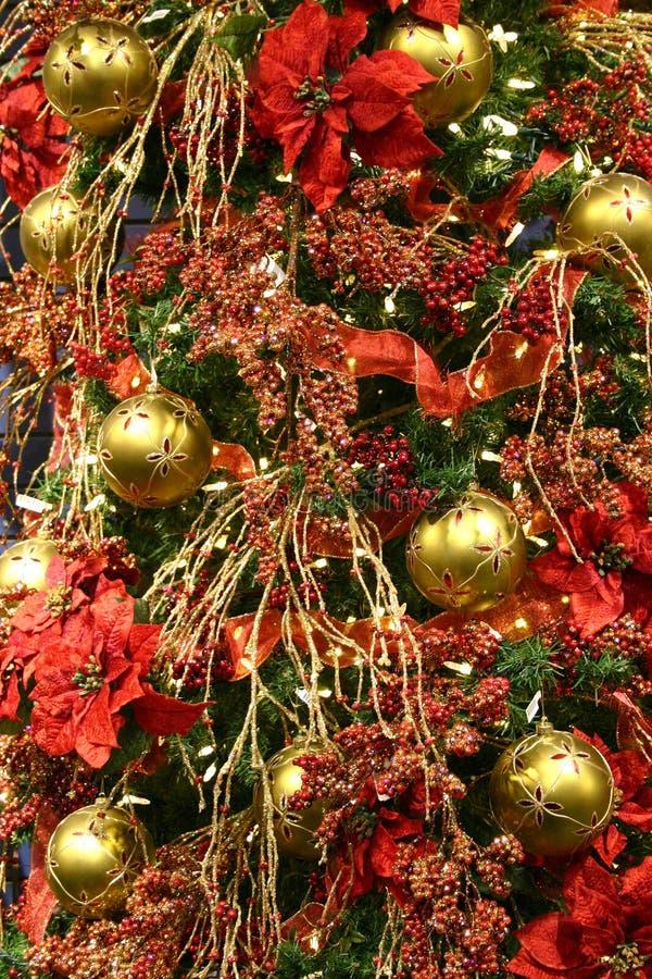 Decoração vermelha da árvore de Natal foto de stock