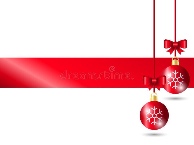 Decoração vermelha da bola do Natal usando o motivo do floco de neve com curva vermelha da fita no fundo branco Adicionando a cor ilustração do vetor