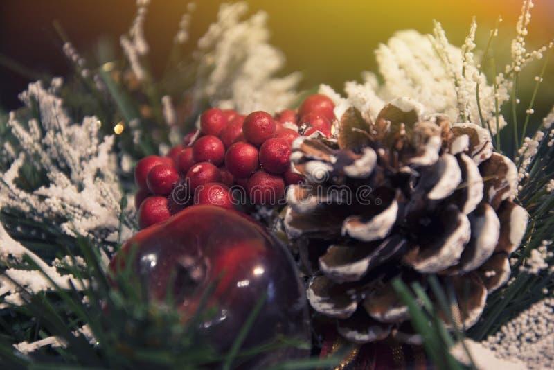 Decorações bonitas do Natal: um cone e ramos de uma árvore de Natal fotografia de stock royalty free