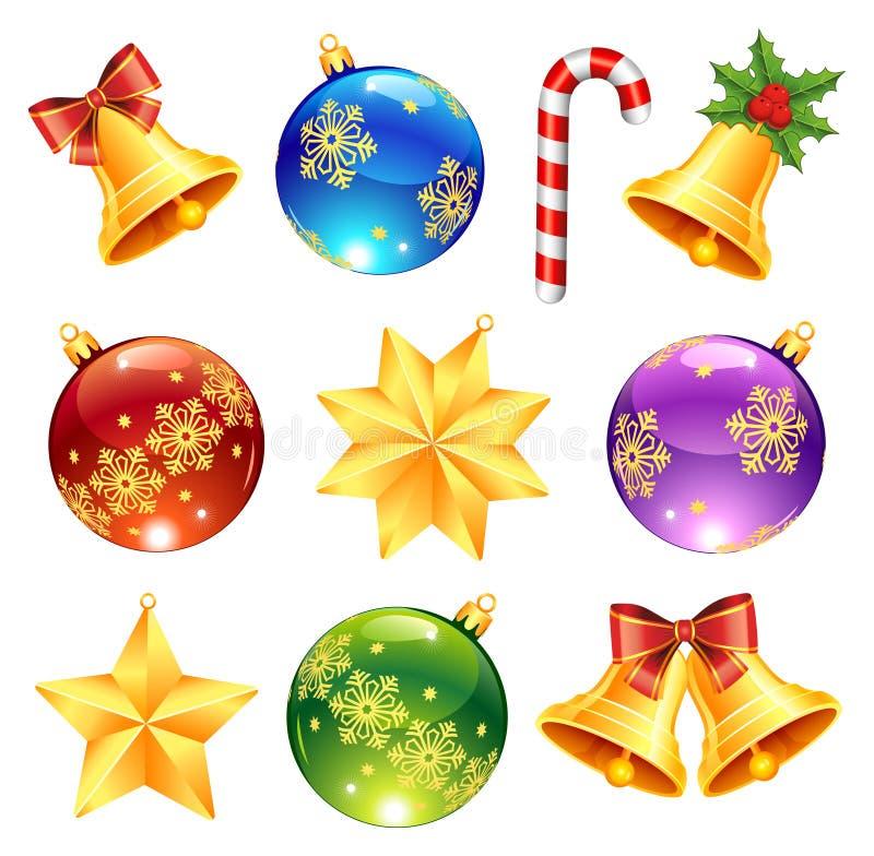 Decorações brilhantes do Natal ilustração royalty free