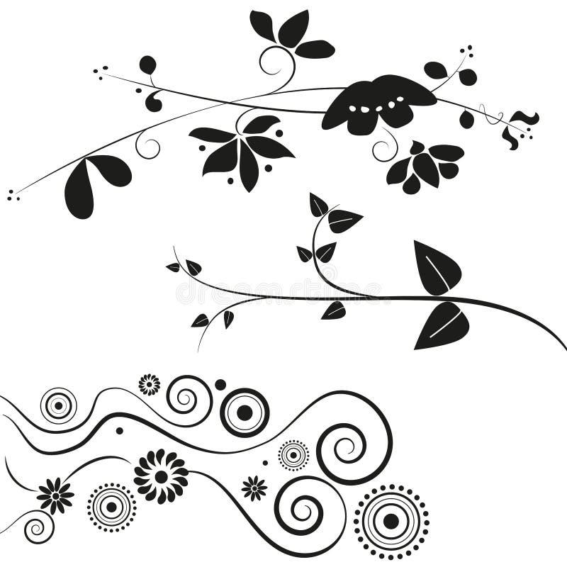 Decorações da flor e do redemoinho ilustração do vetor