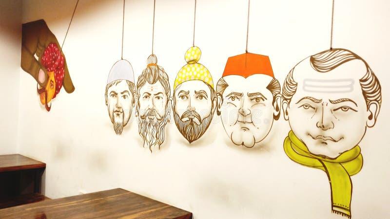 Decorações da parede em Jaipur, Índia fotografia de stock