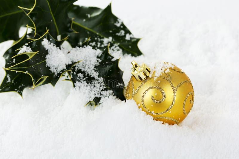 Decorações de Chrismas com azevinho na neve branca fotos de stock royalty free