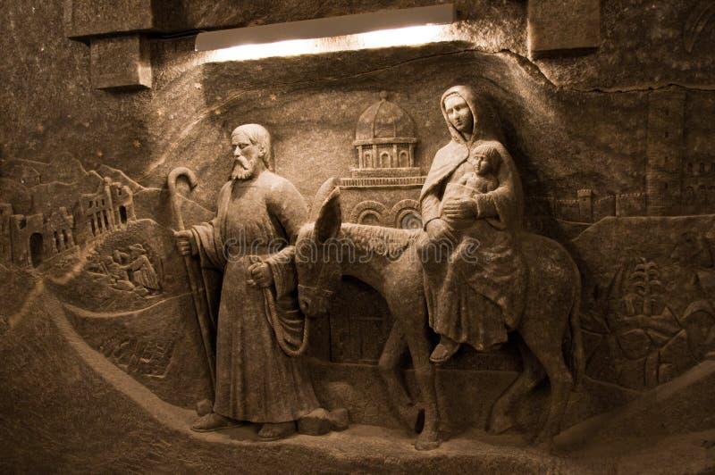 Decorações de sal na mina de sal de Wieliczka fotos de stock royalty free