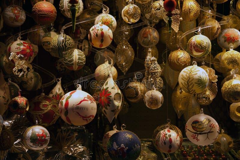Decorações de vidro do Natal fotografia de stock