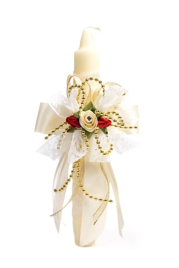 Decorações do casamento da vela fotografia de stock