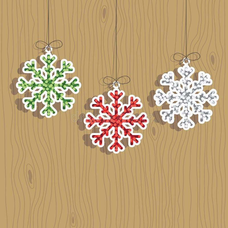 Decorações do floco de neve do Natal ilustração stock