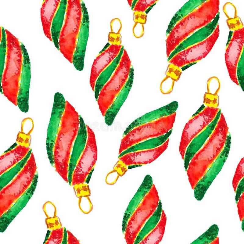 Decorações do Natal da aquarela e do ano novo ilustração stock