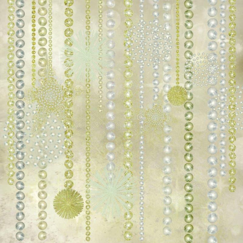 Decorações do Natal da prata, do ouro e da pérola ilustração royalty free