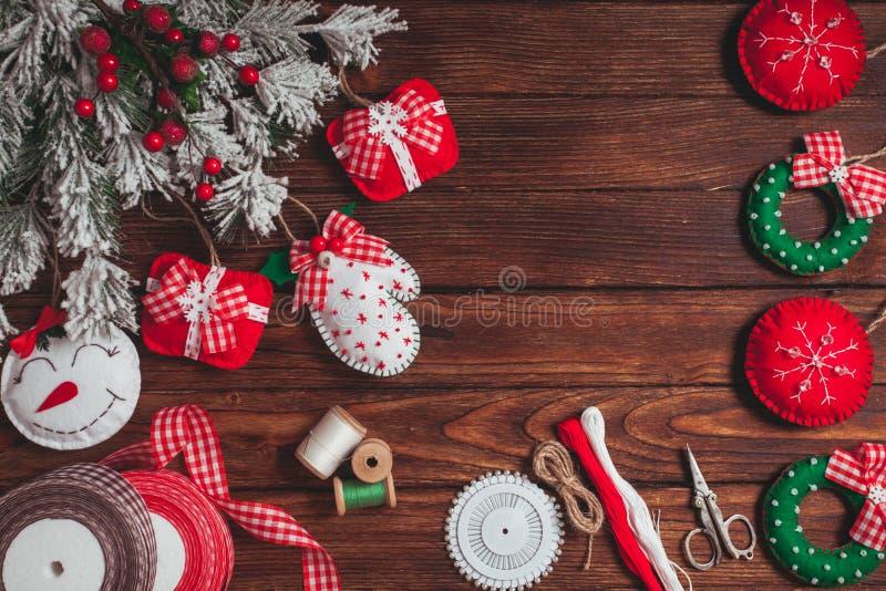 Decorações do Natal de feltro fotografia de stock
