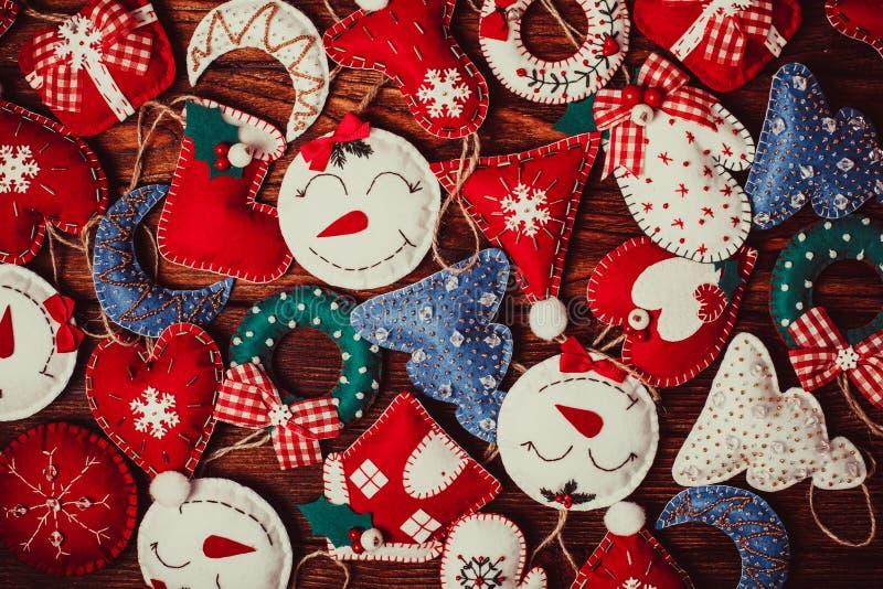 Decorações do Natal de feltro imagens de stock
