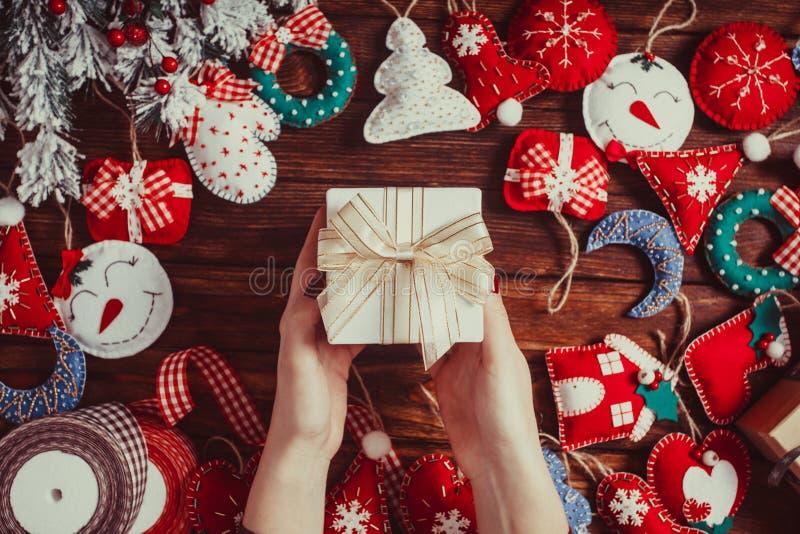 Decorações do Natal de feltro foto de stock royalty free