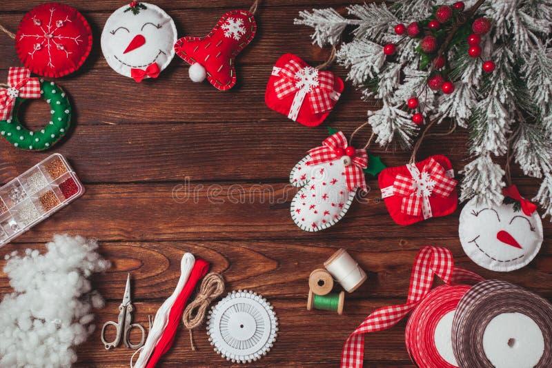 Decorações do Natal de feltro imagens de stock royalty free