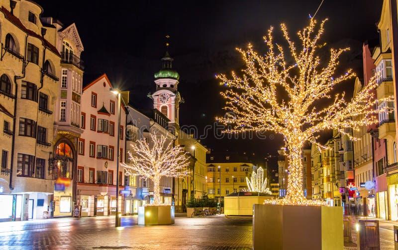 Decorações do Natal em Innsbruck imagens de stock royalty free