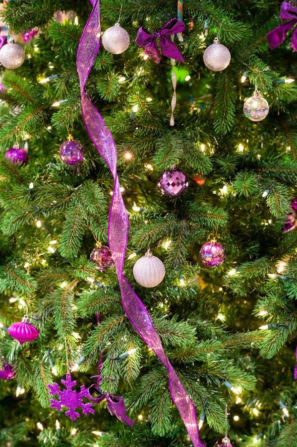 Decorações do Natal em uma árvore fotos de stock royalty free