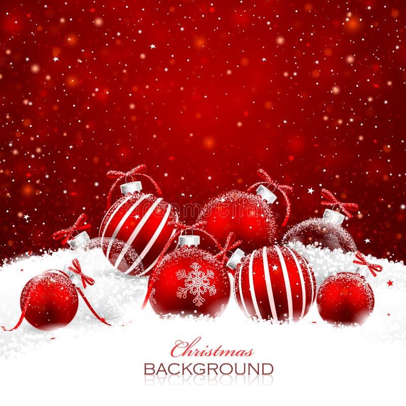 Decorações do Natal na neve ilustração royalty free