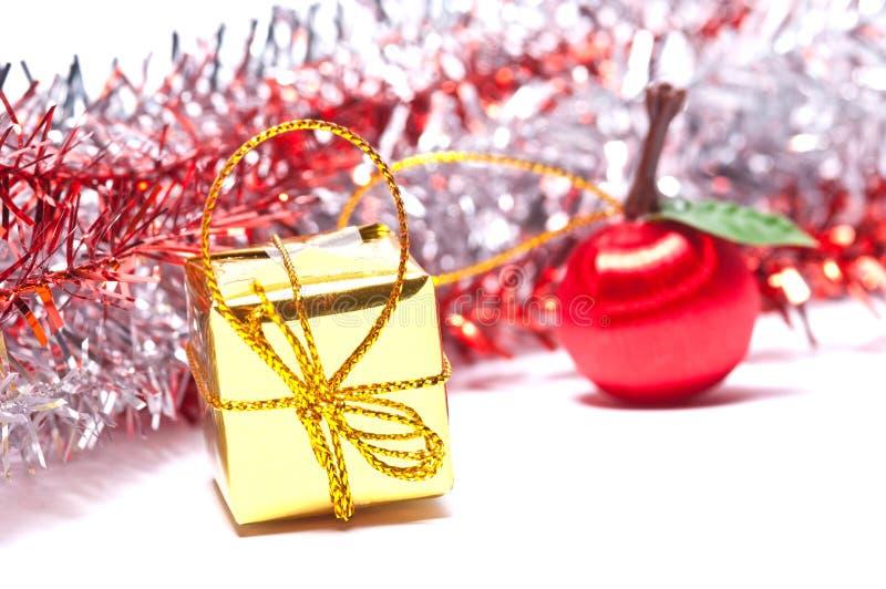 Decorações do Natal no fundo branco fotos de stock