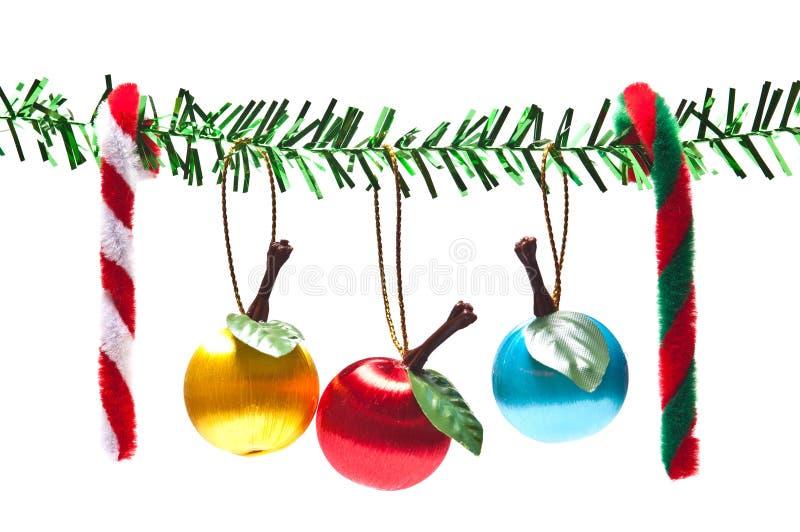 Decorações do Natal no fundo branco imagens de stock royalty free