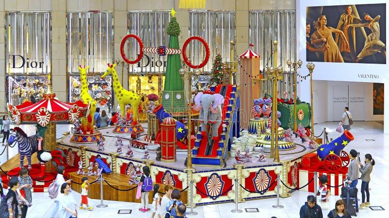 Decorações do Natal no shopping do marco em Hong Kong foto de stock royalty free