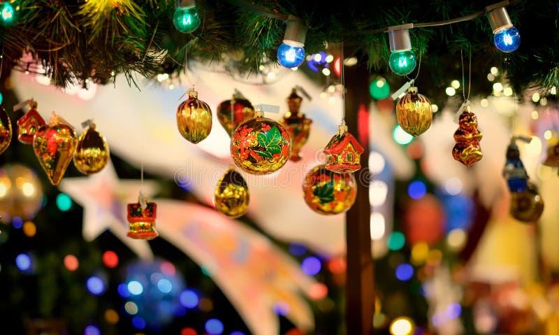 Decorações do Natal para a árvore de Natal fotografia de stock
