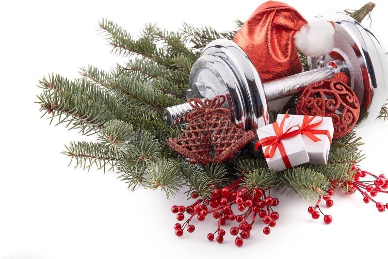 Decorações do peso e do Natal Aptidão fotos de stock royalty free