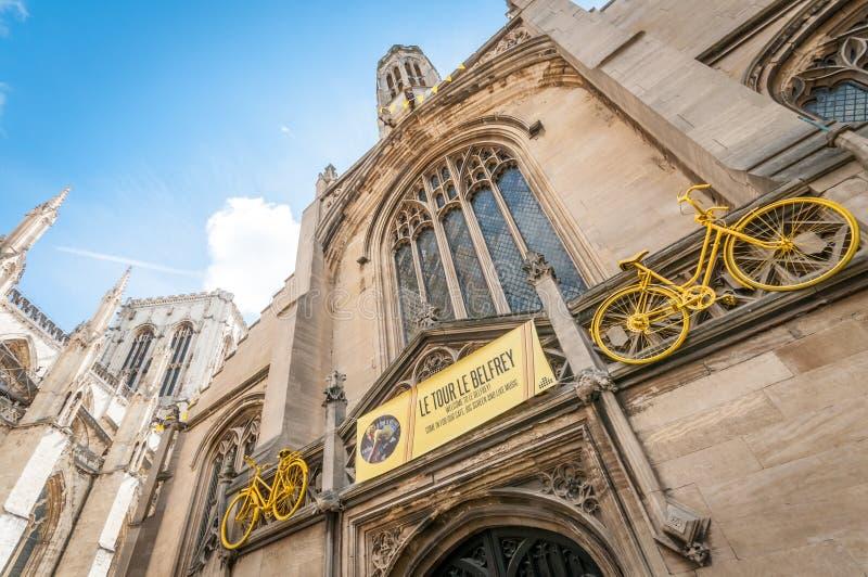 Decorações do Tour de France em York, Reino Unido imagens de stock royalty free