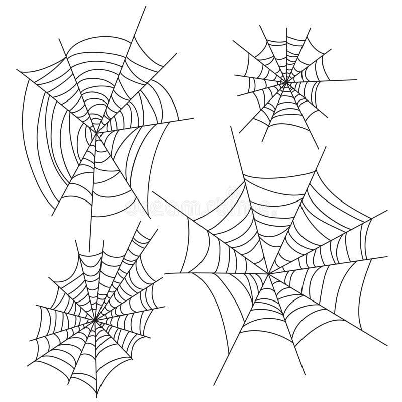 Decorações do vetor do Dia das Bruxas da Web de aranha ajustadas Elementos do projeto do partido da teia de aranha ilustração royalty free