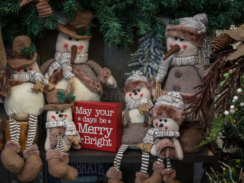 Decorações dos bonecos de neve fotos de stock royalty free