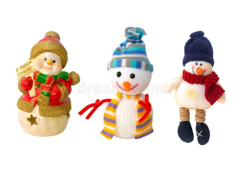 Decorações dos bonecos de neve do ano novo foto de stock royalty free