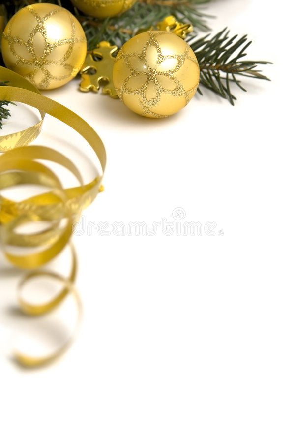 Decorações douradas do Natal fotografia de stock royalty free