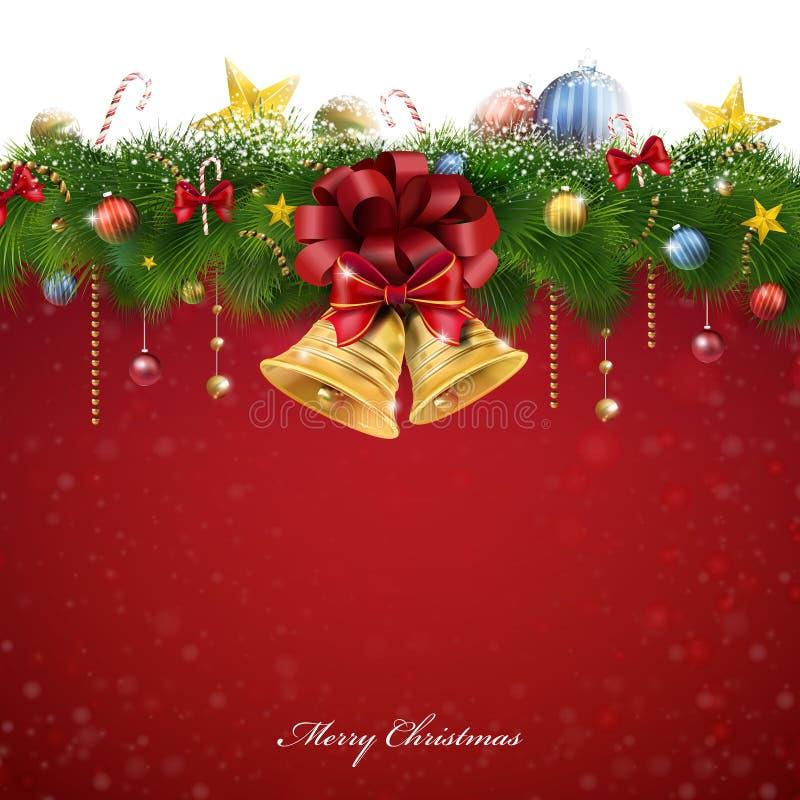 Decorações e sinos de Glory Christmas ilustração do vetor