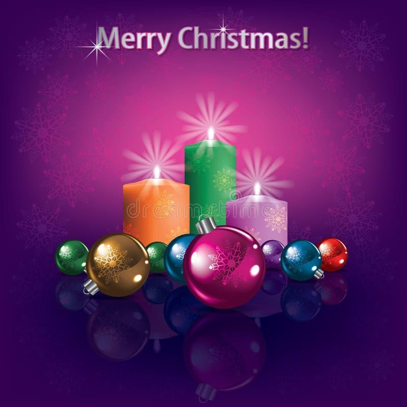 Decorações e velas do Natal ilustração do vetor