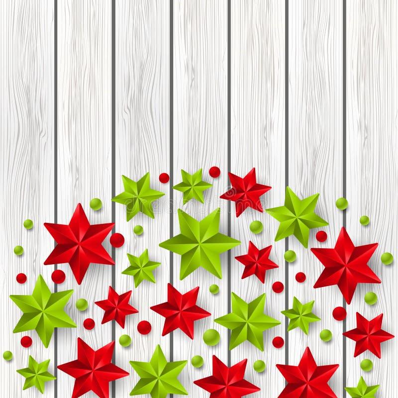 Decorações estrelados do Xmas na madeira ilustração royalty free
