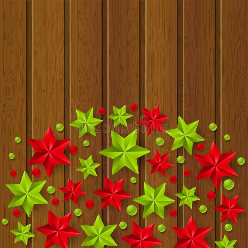 Decorações estrelados do Xmas na madeira ilustração stock