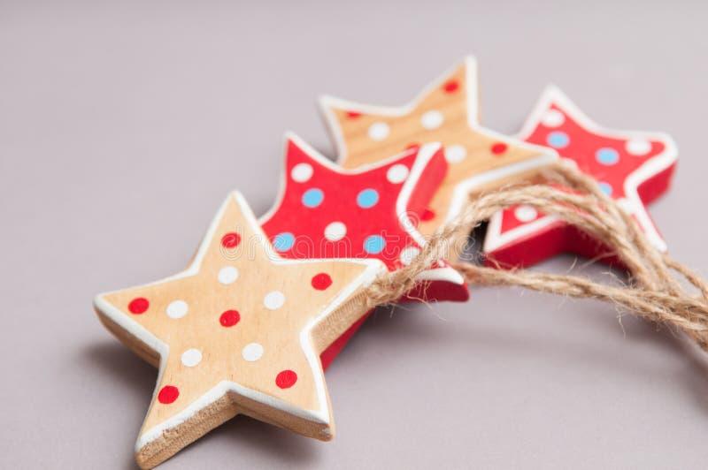 Decorações feitos à mão da árvore de Natal da forma da estrela imagem de stock royalty free