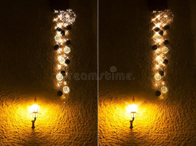 Decorações iluminadas longas do Natal fotografia de stock royalty free