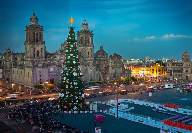 Decorações metropolitanas da árvore da catedral e de Natal em Zocalo Cidade do México fotografia de stock