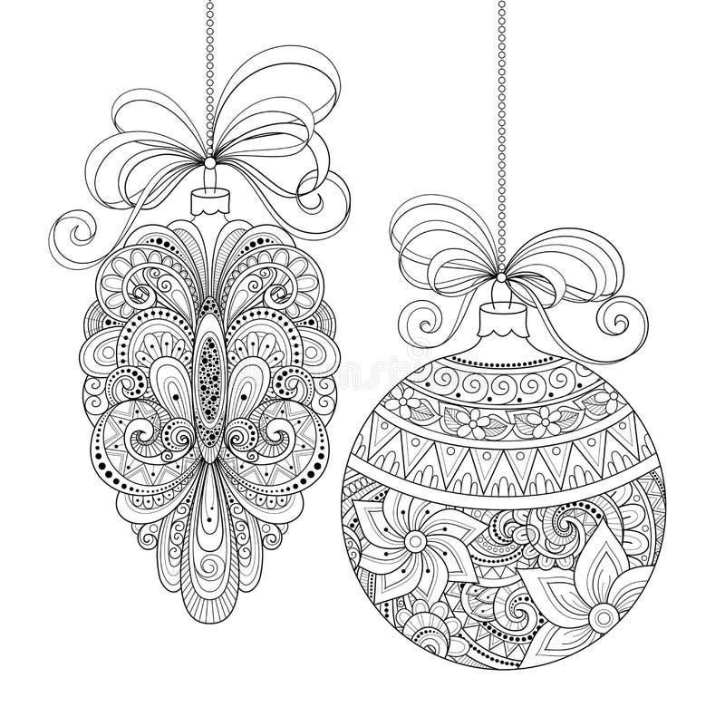 Decorações monocromáticas ornamentado do Natal do vetor ilustração do vetor