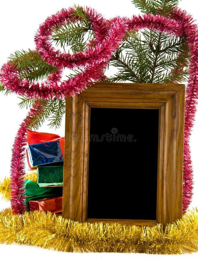 Decorações, presentes e foto do Natal imagens de stock
