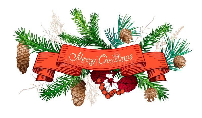 Decorações tiradas mão do Natal ilustração do vetor