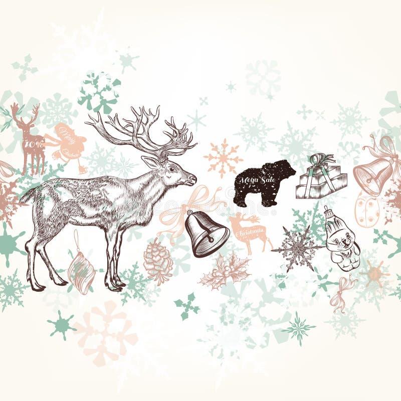 Decorações tiradas mão do Xmas do fundo do Natal ilustração stock