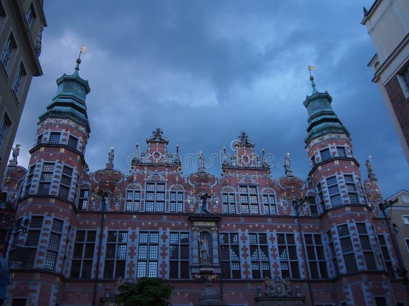 Decora??es da luz de Natal no castelo ducal em Szczecin fotografia de stock royalty free