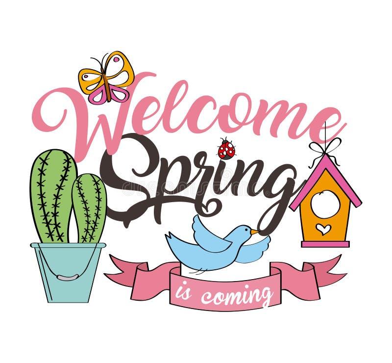 Decoración agradable de la cinta del cactus de la mariposa del pájaro del cartel de la primavera stock de ilustración