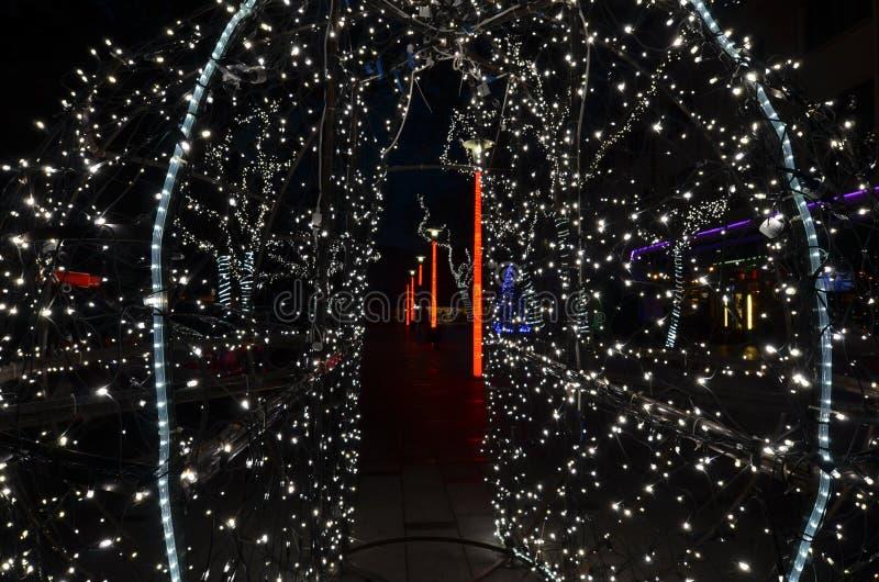 Decoración al aire libre de la Navidad con las luces llevadas blancas fotografía de archivo