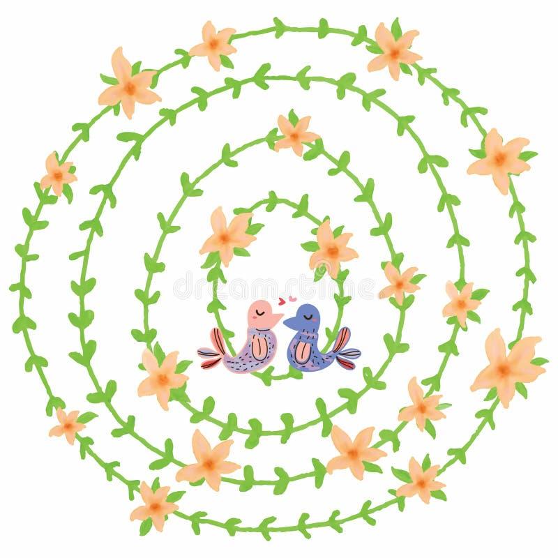 Decoración anaranjada del pájaro del amor de la flor del círculo libre illustration