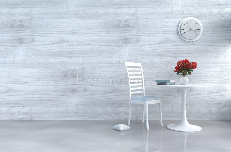 Decoración blanca grisácea de la sala de estar del desván con el sofá imagenes de archivo