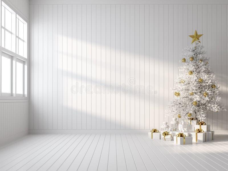 Decoración blanca vacía con árbol de navidad blanco 3d representaciones ilustración del vector