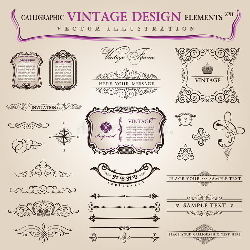 Decoración caligráfica determinada de los elementos del diseño del vector