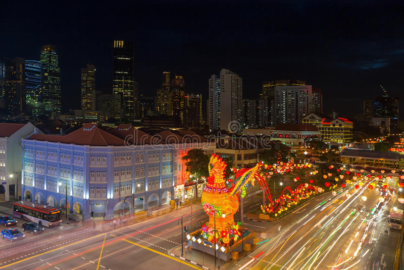 Decoración china del Año Nuevo de Singapur Chinatown 2017 fotos de archivo libres de regalías